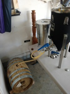 SS Brewtech Chronical Fermenter draining beer into whiskey barrel
