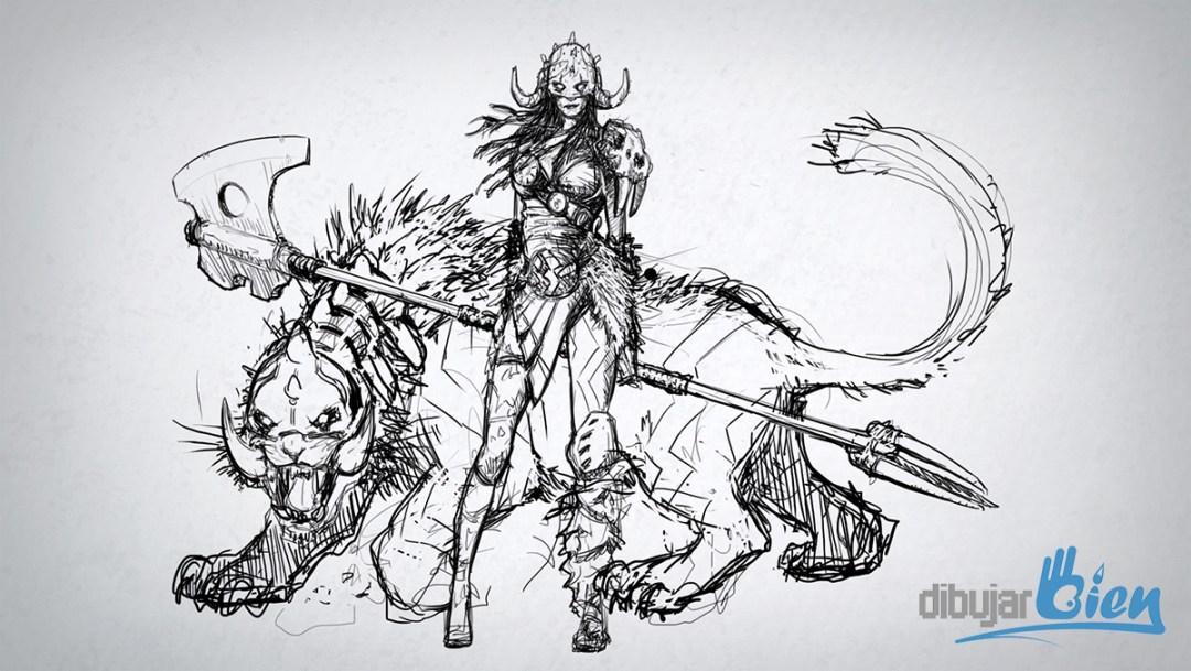 Un dibujo de Nidalee, del LOL VS Garruk de Magic