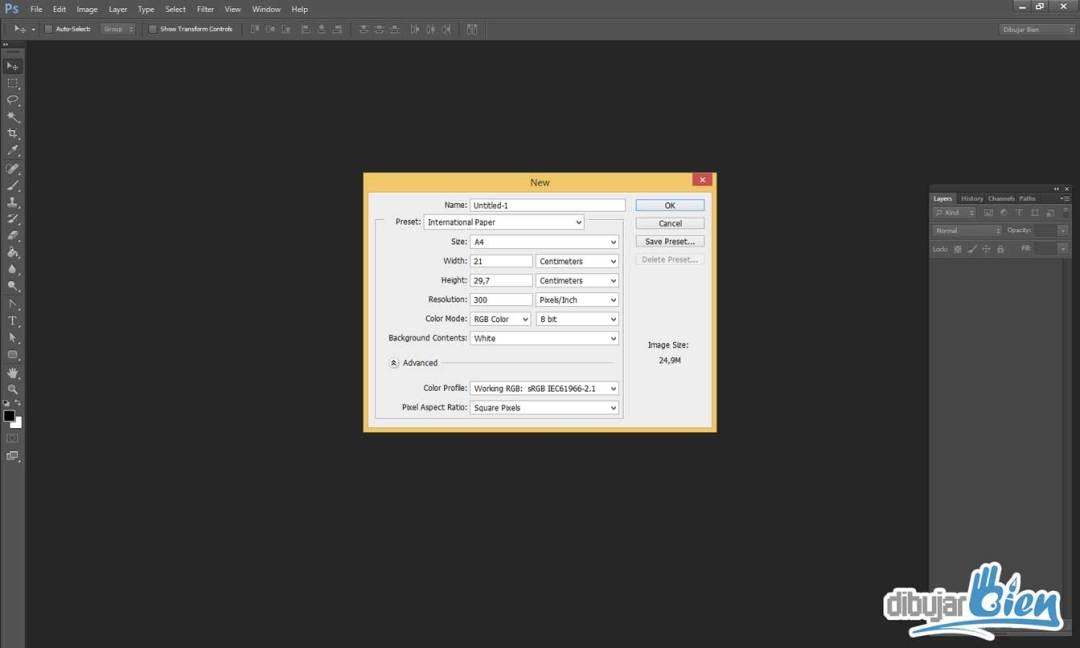 mejor tamaño y resolución para dibujar con Photoshop