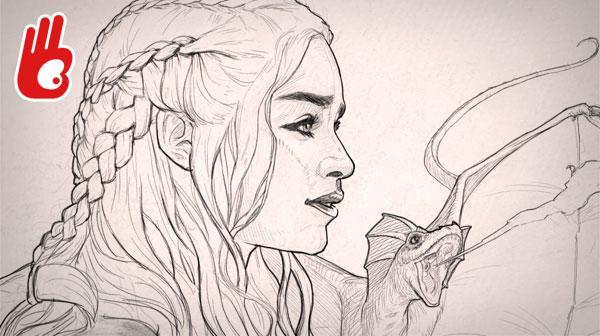 Dibujo retrato de Daenerys Targarien usando pincel efecto lápiz