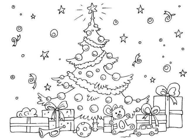 Imagen de árbol de navidad con regalos para colorear