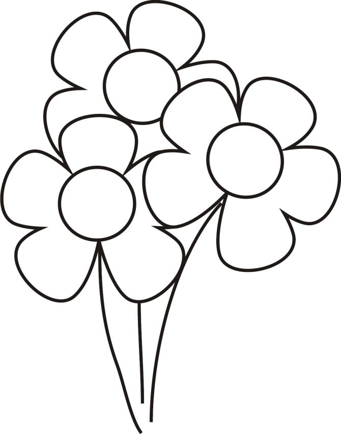 Dibujos sencillos de pintar para niños de flores