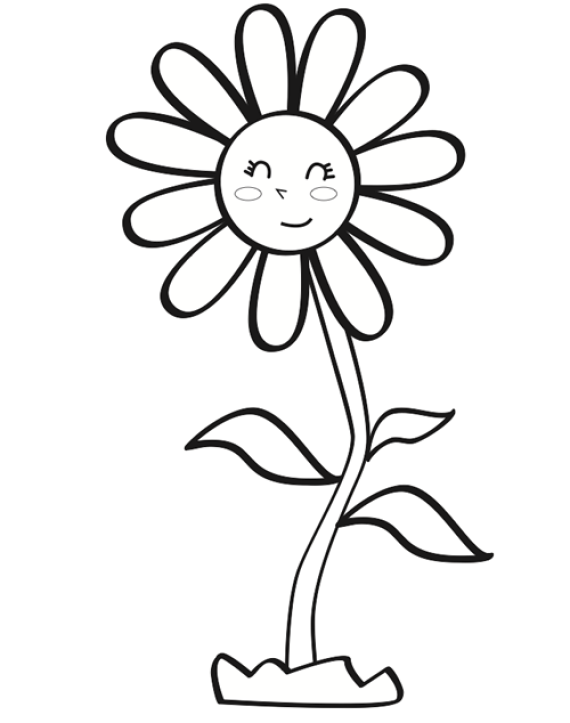 Flores infantiles dibujos para colorear