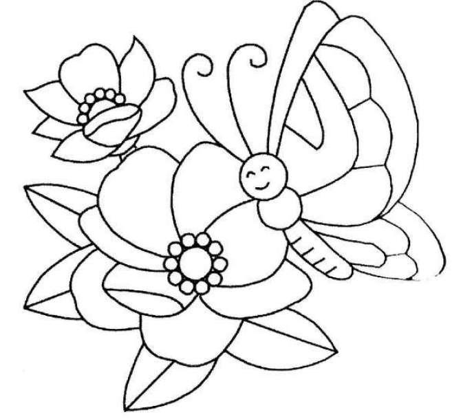 Imagen de una flor y una mariposa para colorear