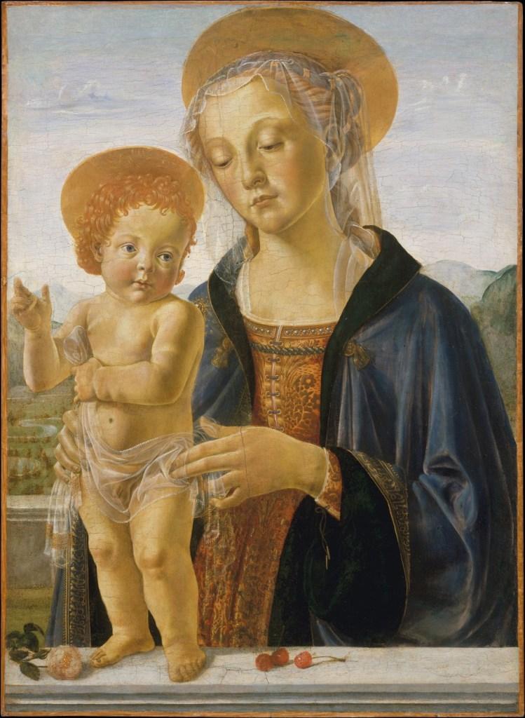 Pintor Italiano Clásico Andrea del Verrocchio - Madonna con Juan el Bautista