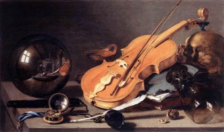 Vanitas con violín y bola de vidrio por Pieter Claesz