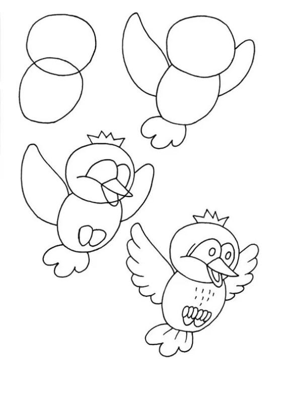 como dibujar paso a paso un pajaro