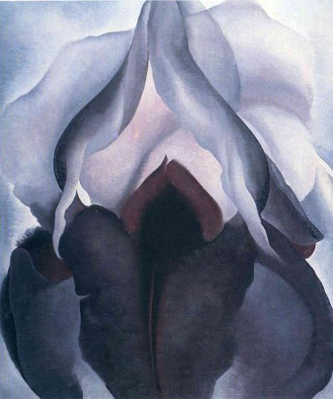Obra maestra arte abstracto de Georgia O'Keeffe Iris Negro III