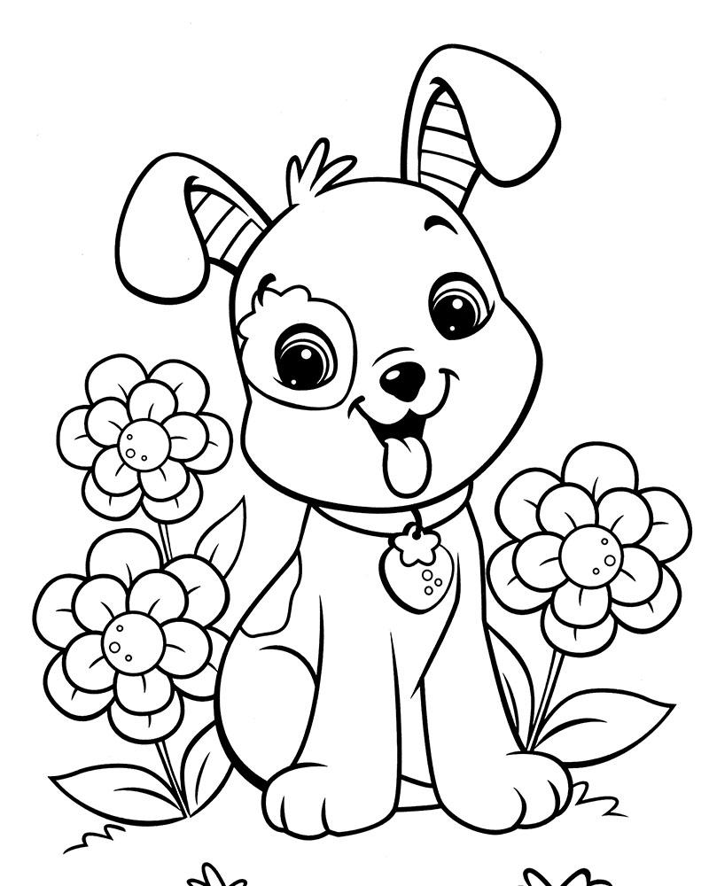 Hermosa Perrito Para Colorear Imprimible Viñeta - Enmarcado Para ...