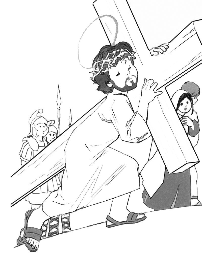 Dibujos de Jesus Cargando la Cruz para colorear