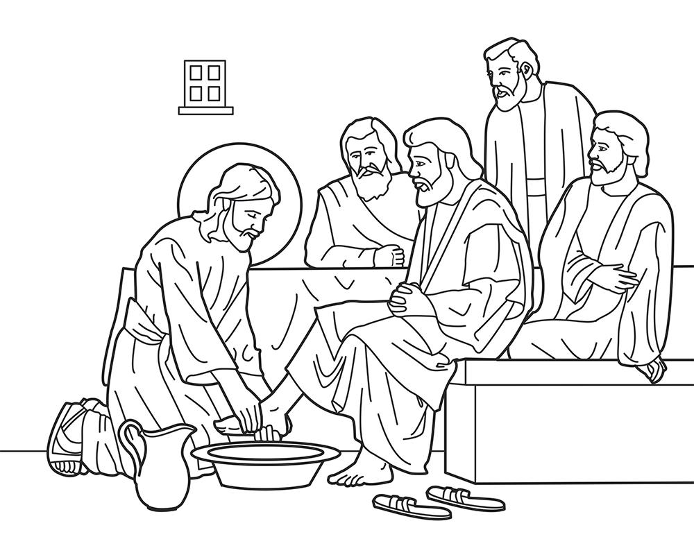 Dibujos para colorear del lavatorio de los pies Jueves Santo