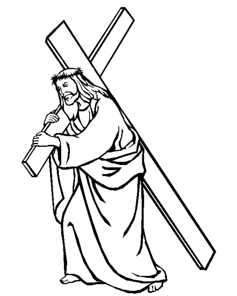 Imagenes Para Semana Santa de Jesús Cargando la Cruz para echarlecolores