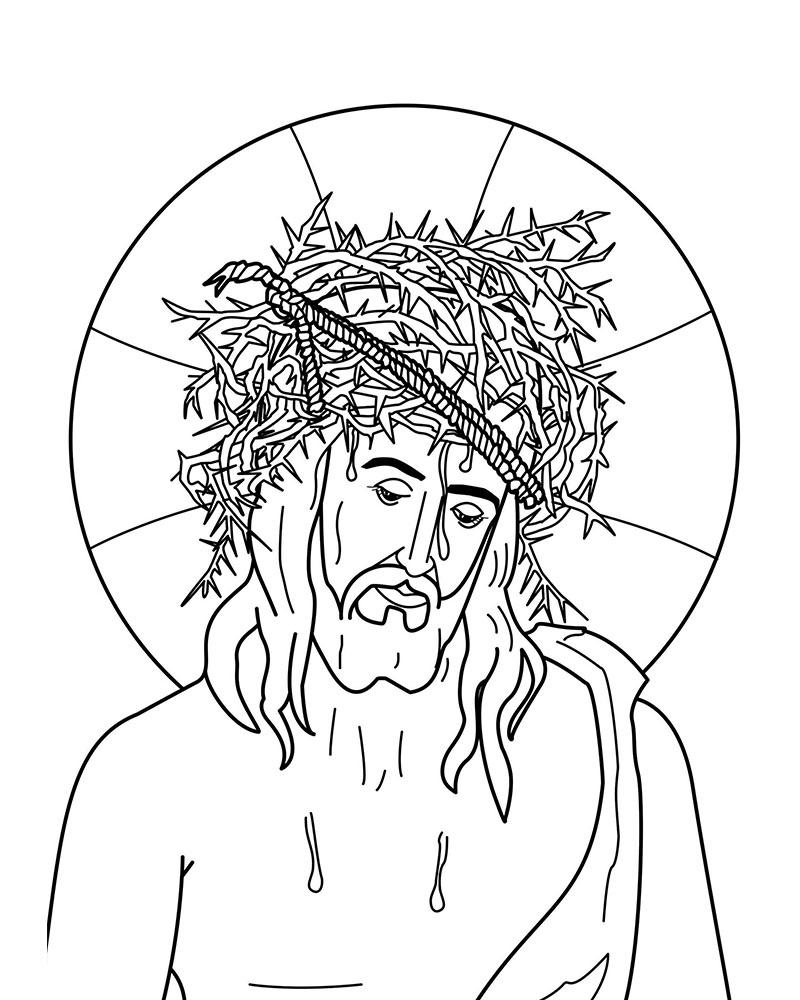 Imagenes de Jesus Coronado de Espinas para colorear
