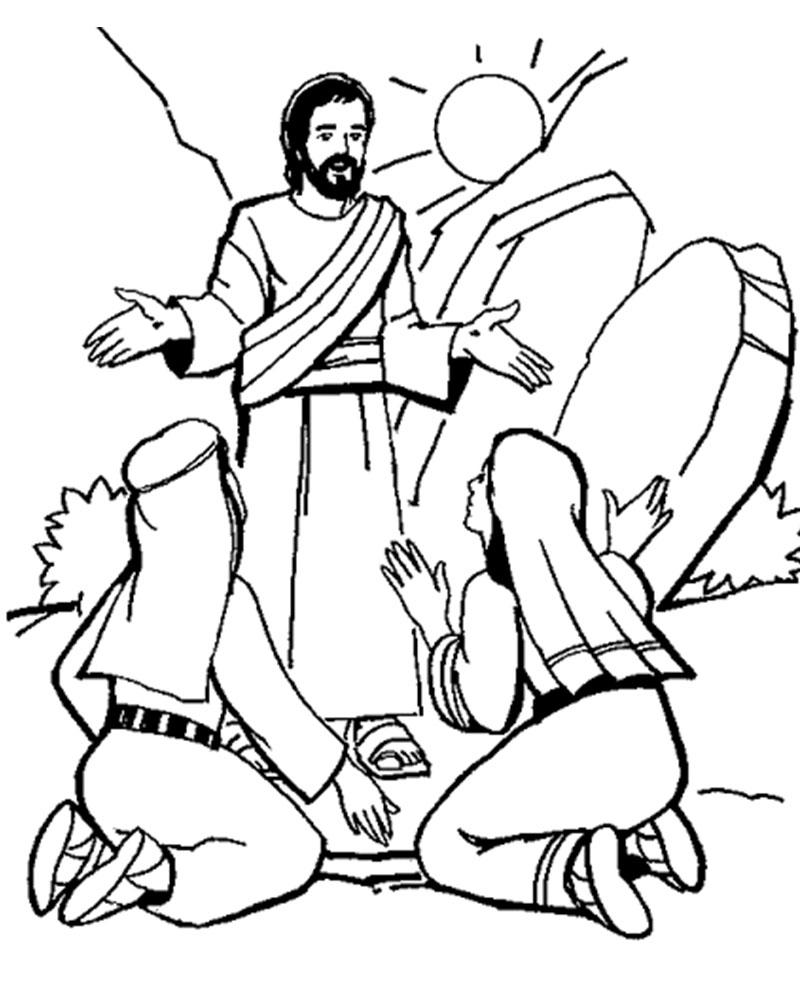 Imagenes de la Resurreccion de Jesus para colorear en Semana Santa