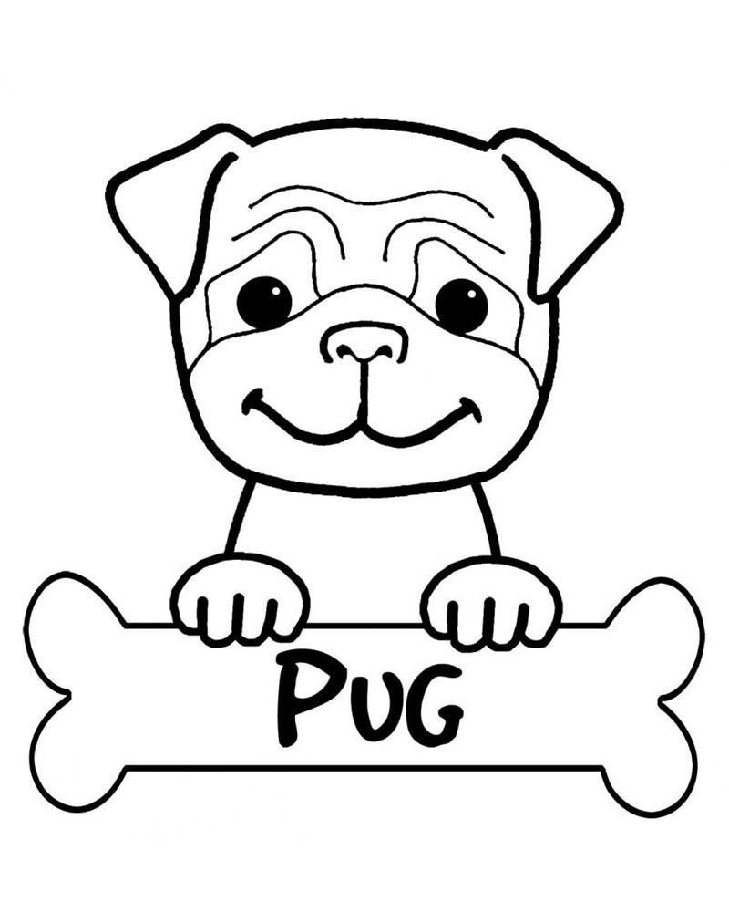 dibujos de huesos para perros con cachorros para colorear