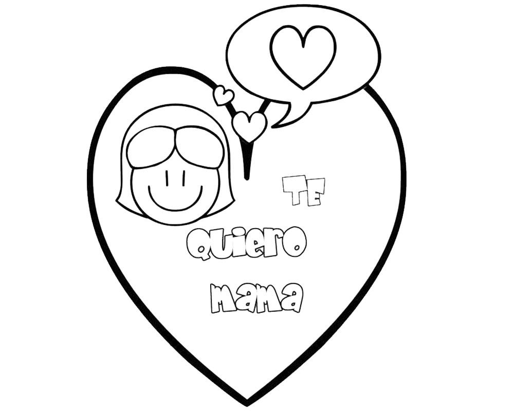 Dibujo de un corazon te quiero mamá para pintar