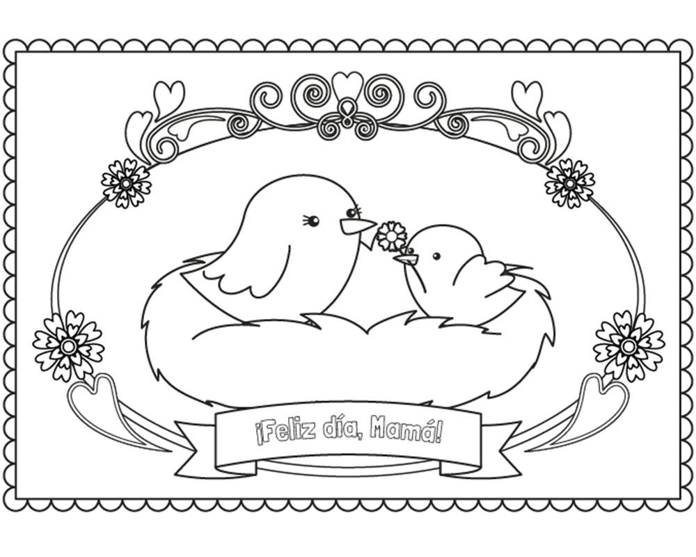 Imagenes de dibujos para colorear feliz día mamá