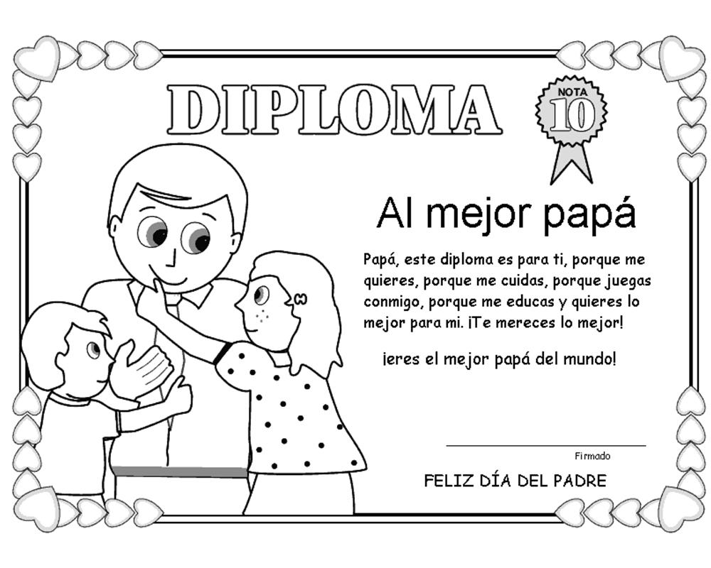 Diploma para colorear y regalar a papá el día del padre