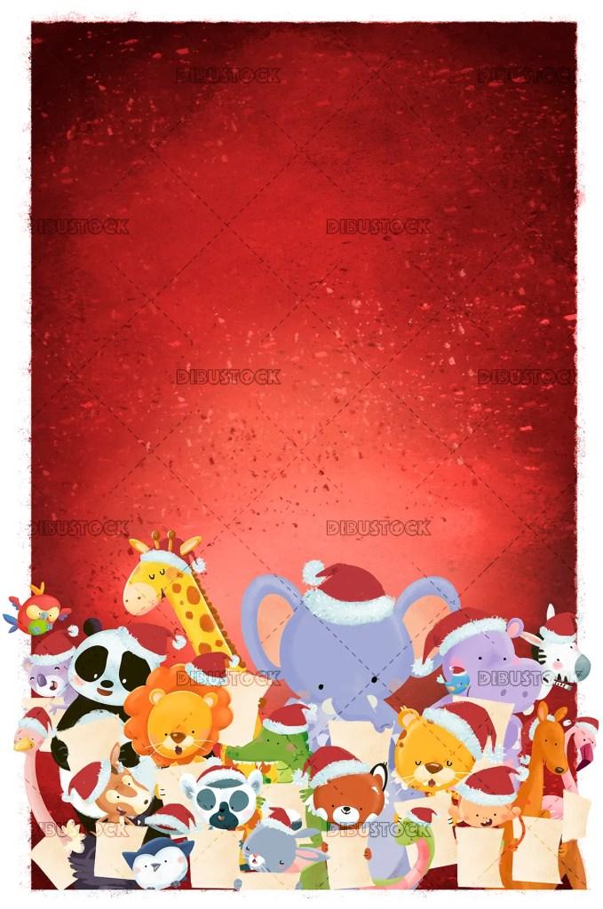 Animals singing at Christmas