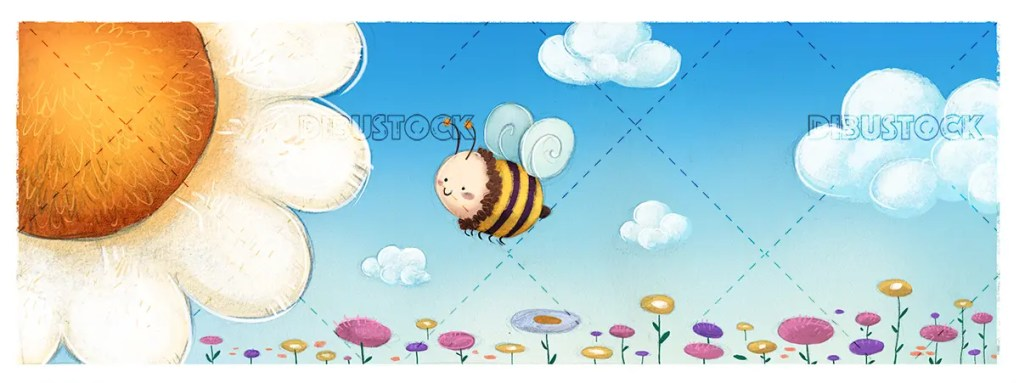 Bee and flower and clouds