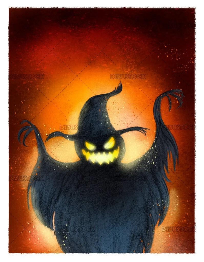 Ghost pumpkin on halloween