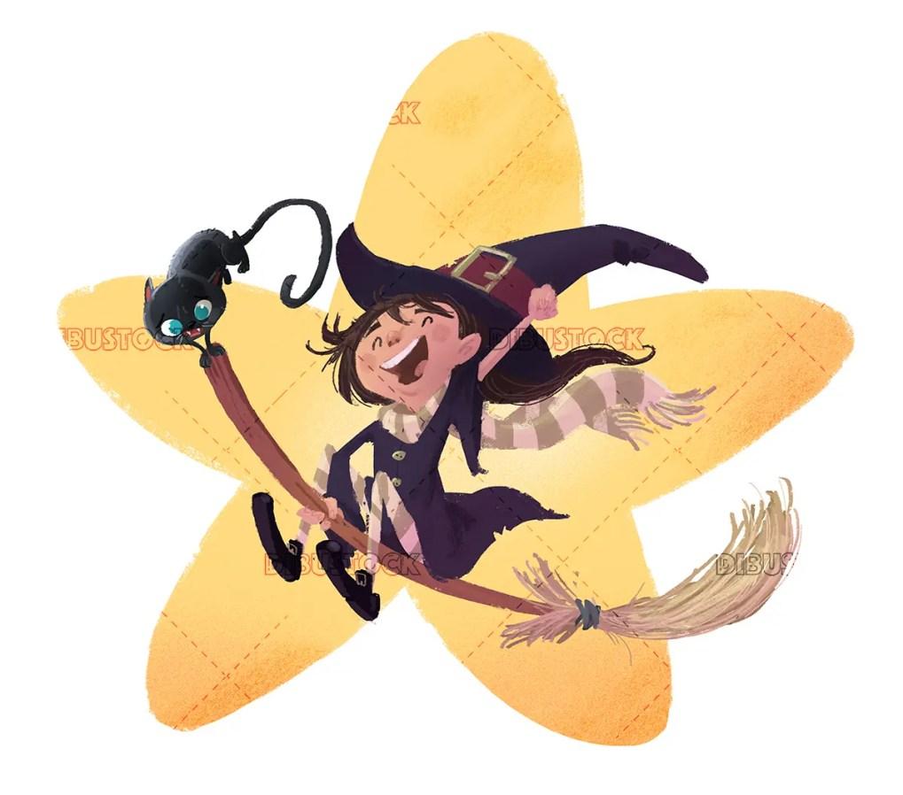 Nina bruja volando con gato negro