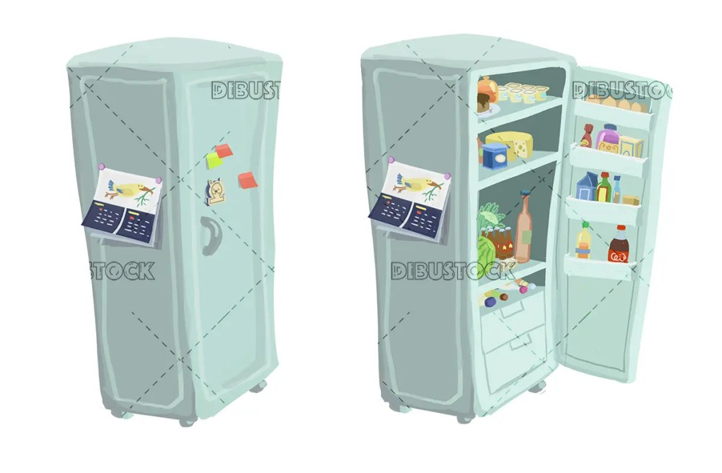 Open and closed fridge