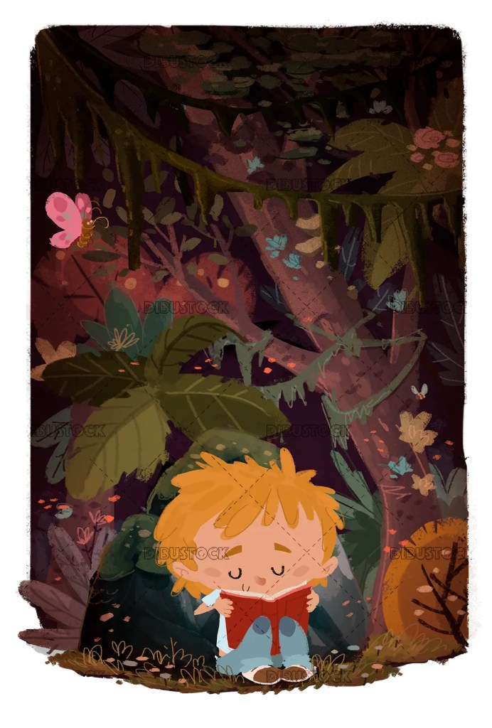 boy reading in the woods