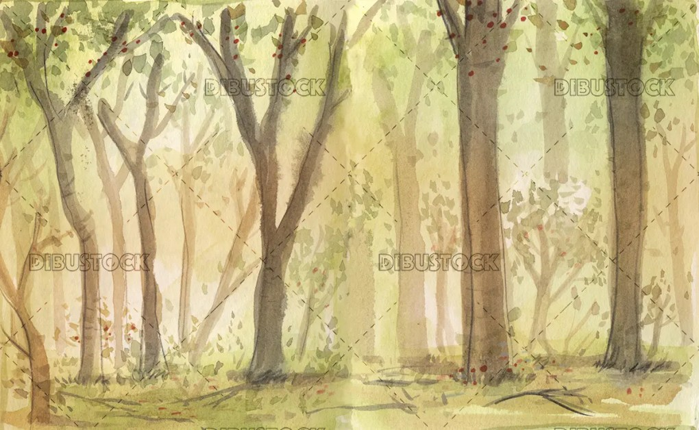 forest in watercolor