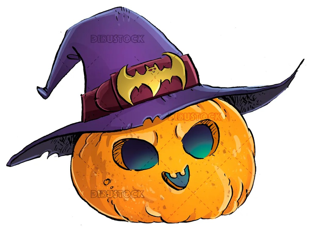 halloween pumpkin with witch hat white