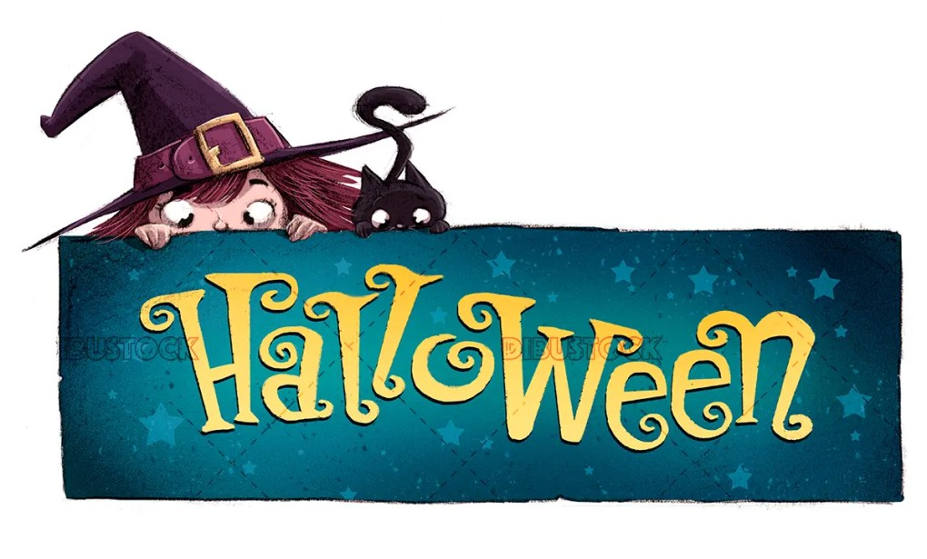 witch and cat with halloween sign