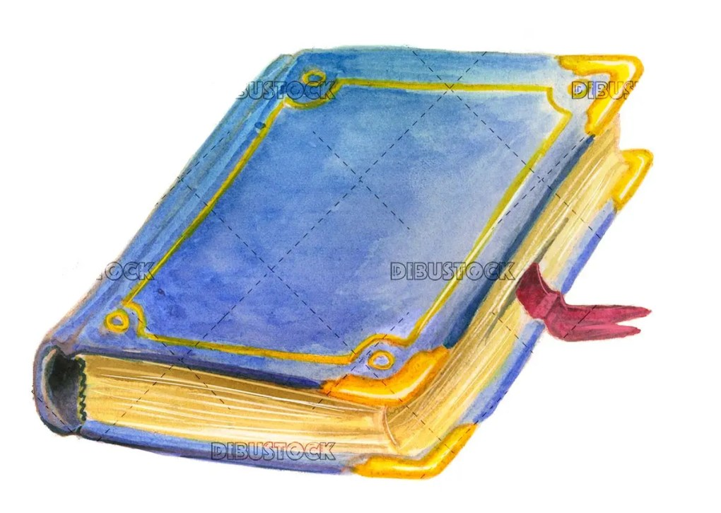 Blue book in watercolor