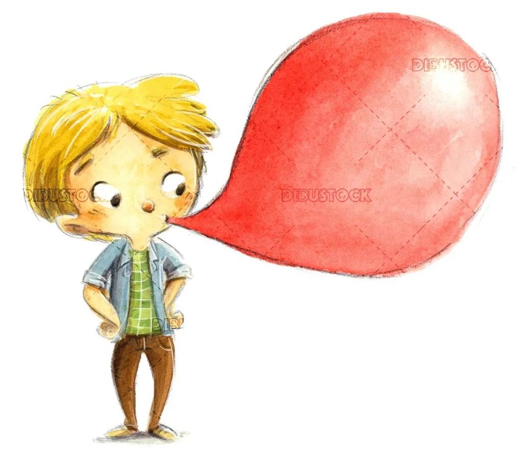Boy eating strawberry bubble gum