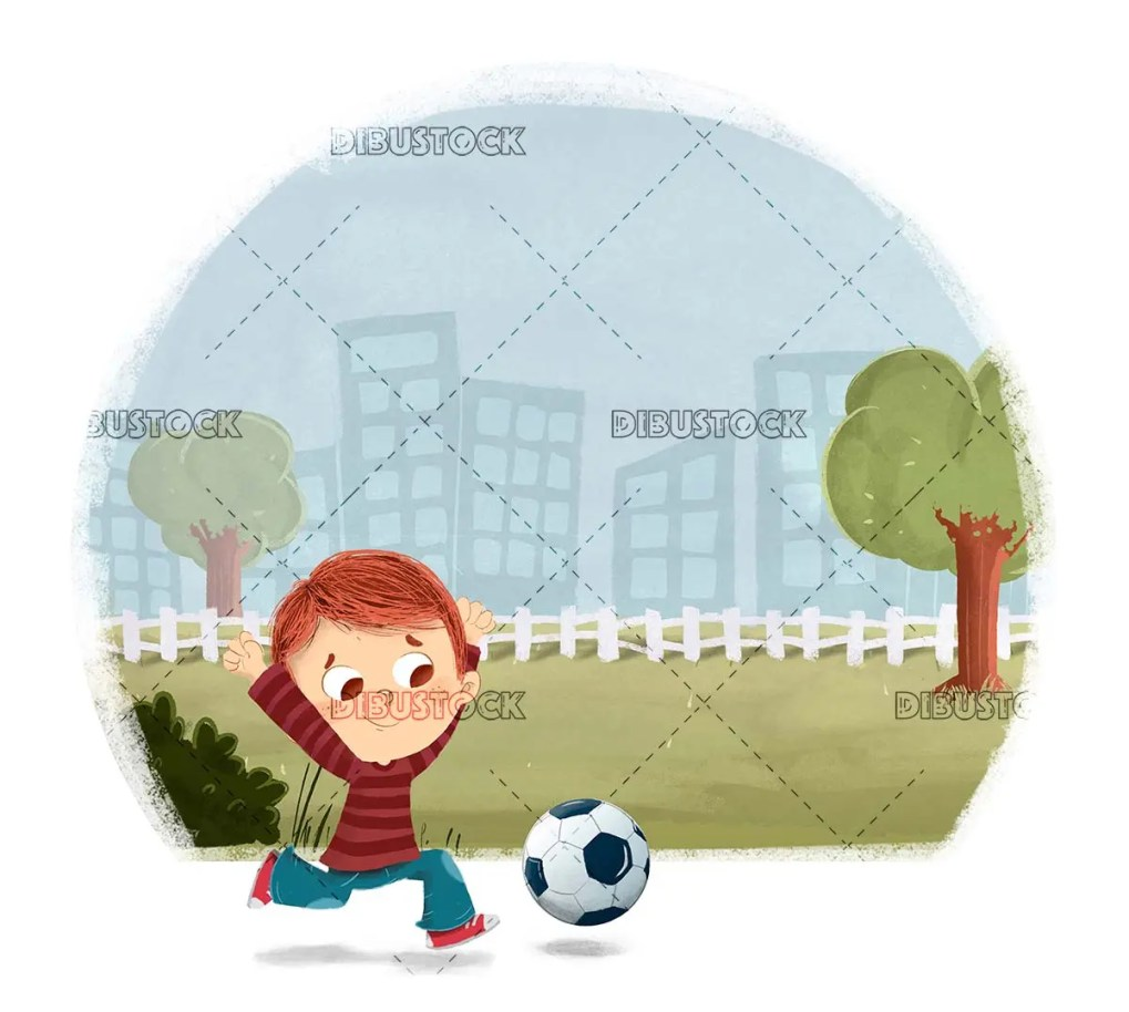 Boy playing soccer with a ball in the park