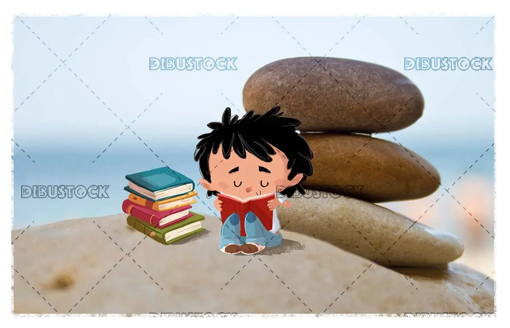 Boy with books reading