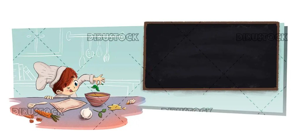 Child in the kitchen with menu blackboard