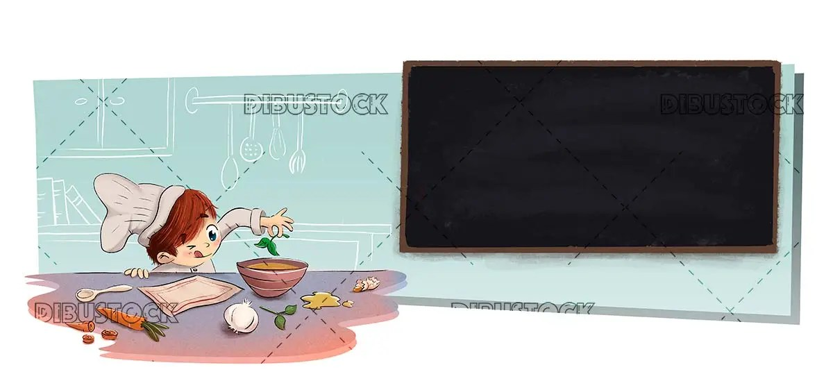 Child in the kitchen with menu blackboard