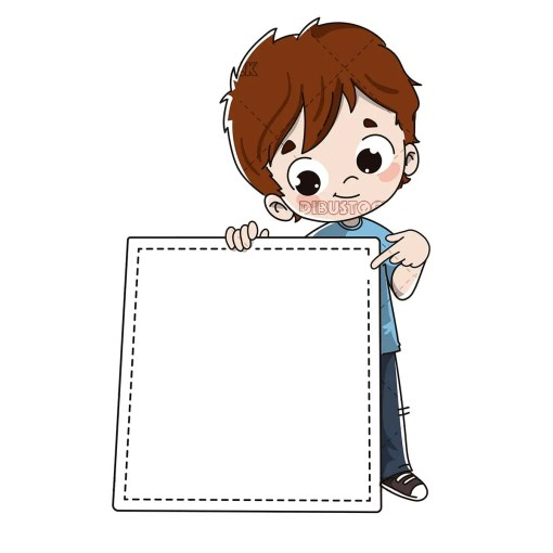 Child with an invitation or announcement poster