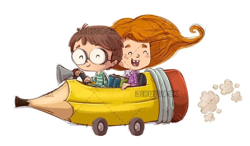 Children in pencil car