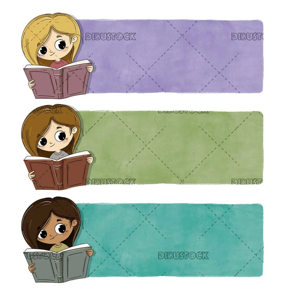 Children reading of different races with texture background