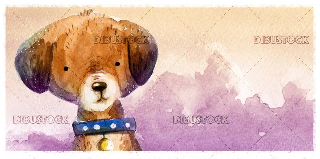 Dog face in watercolor