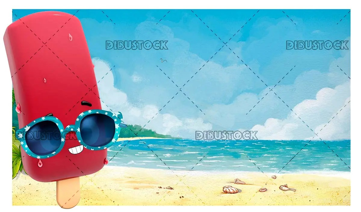 Ice cream with sunglasses on the beach