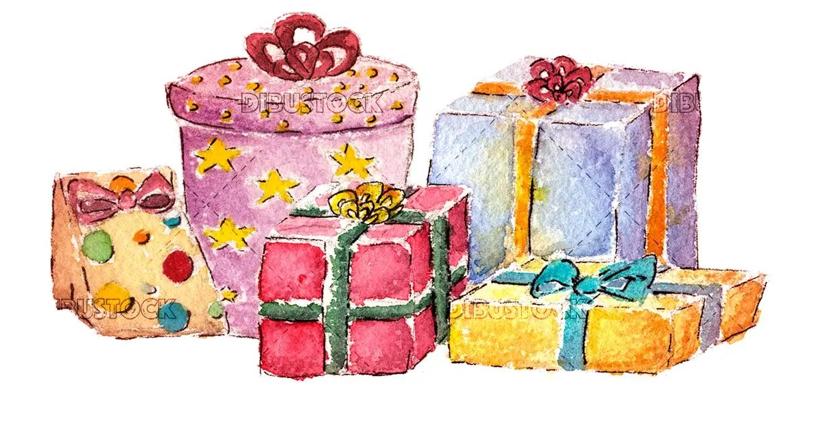 Illustration of gifts in watercolor