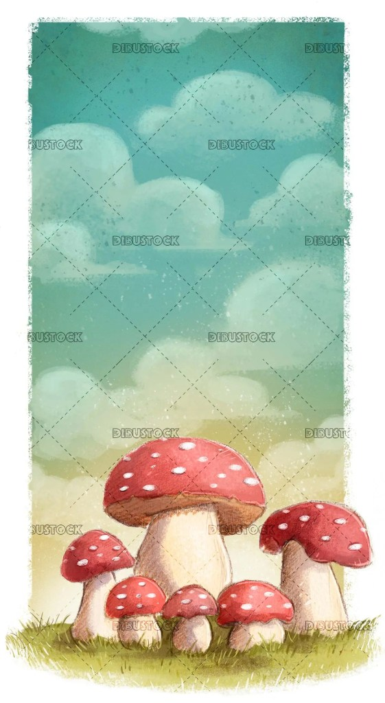 Illustration of mushrooms in the field