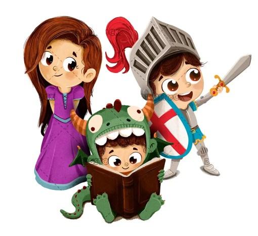 Sant Jordi princess knight and childrens dragon