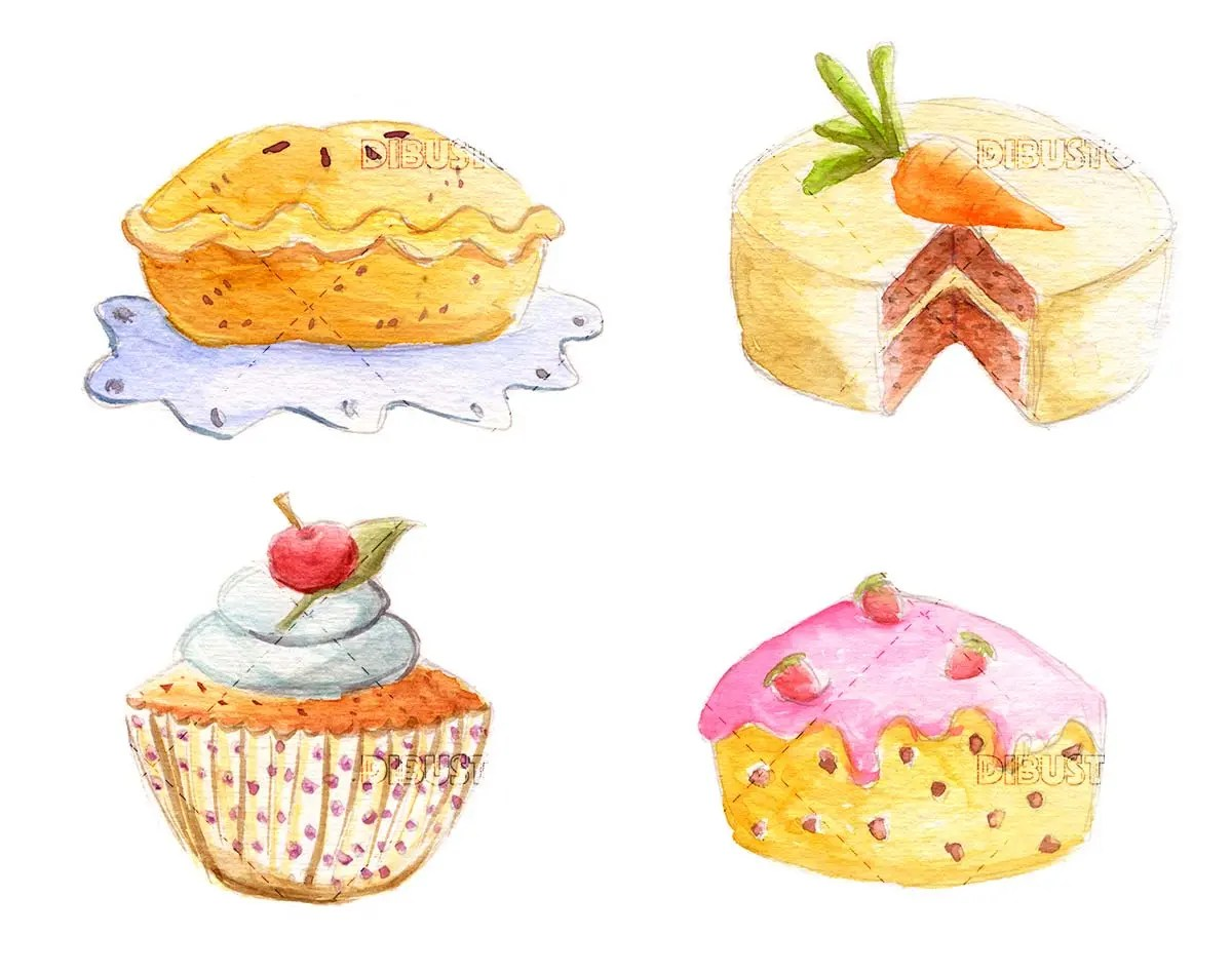 Watercolor cakes illustration
