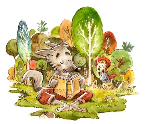 Wolf in the forest reading a book with little red riding hood