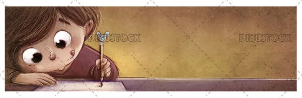 Child writing or doing homework with textured background