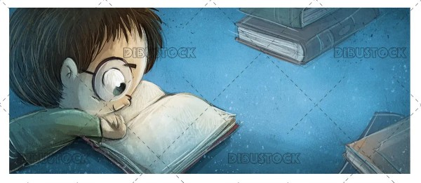boy reading book glasses blue 1