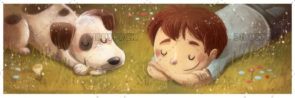 boy with a sleeping dog lying on the ground